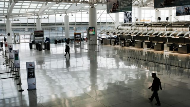 JFK airport in New York is eerily quiet